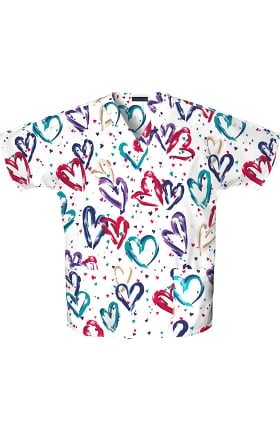 Fashion Prints by Cherokee Women's 2-Pocket V-Neck Hearts Print Scrub Top
