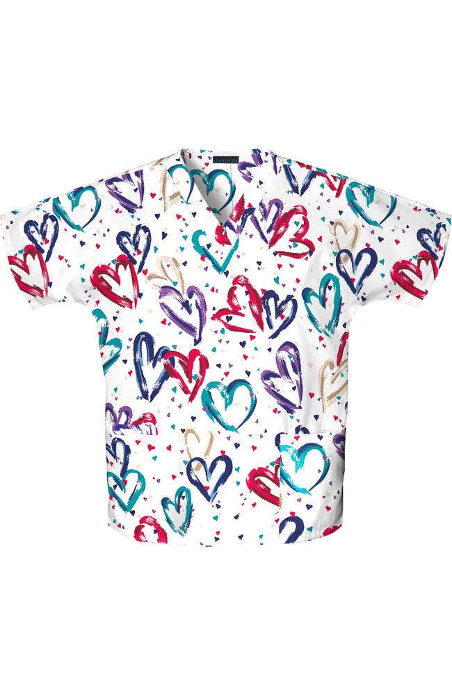 fashion prints by cherokee womens 2 pocket v neck hearts print scrub top