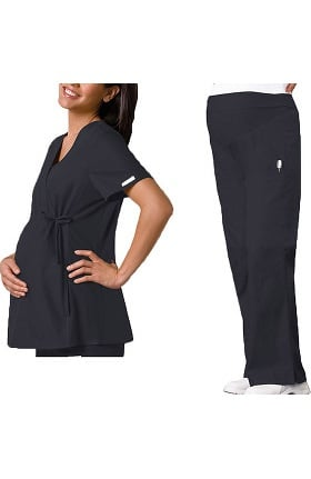 Flexibles by Cherokee Women's Maternity Mock Wrap with Stretch Side Panels Top and Flare Leg Pant Solid Scrub Set