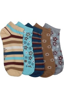 Footwear by Cherokee Women's Browns And Blues Print 5 Pair No Show Socks