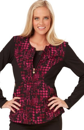Clearance Careisma by Sofia Vergara Women's Angelina Zip Front Houndstooth Print Scrub Jacket