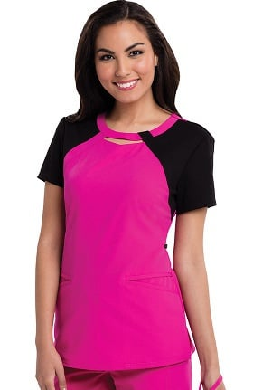 Clearance Careisma by Sofia Vergara Women's Audrey Cutout Neck Colorblock Solid Scrub Top