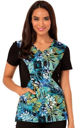 Clearance Careisma by Sofia Vergara Women's V-Neck Floral Print Scrub Top