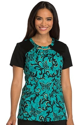 Careisma by Sofia Vergara Women's Round Neck Butterfly Print Scrub Top