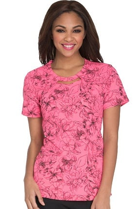 Careisma by Sofia Vergara Women's Round Neck Floral Print Scrub Top