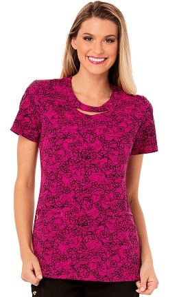 Clearance Careisma by Sofia Vergara Women's Mock Wrap Floral Print Scrub Top