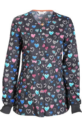 code happy Women's Snap Front Heart Print Warm Up Scrub Jacket