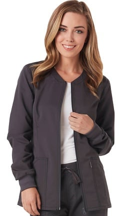 code happy Women's Zip Front Warm-Up Solid Scrub Jacket