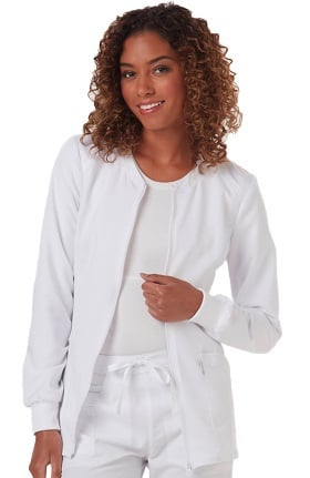 Clearance code happy Women's Zip Front Warm-Up Solid Scrub Jacket