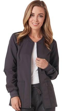 code happy Women's Zip Front Warm-Up Solid Scrub Jacket