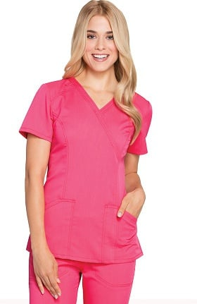 Cloud Nine by code happy Women's Mock Wrap Solid Scrub Top