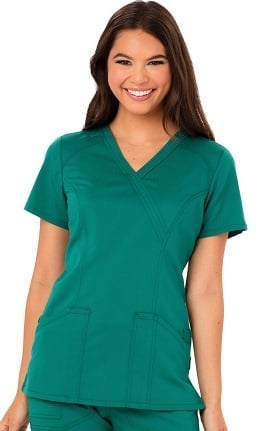 Clearance code happy Women's Mock Wrap Solid Scrub Top