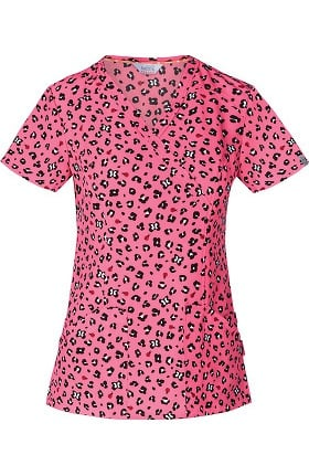 Clearance code happy Women's Mock Wrap Animal Print Scrub Top