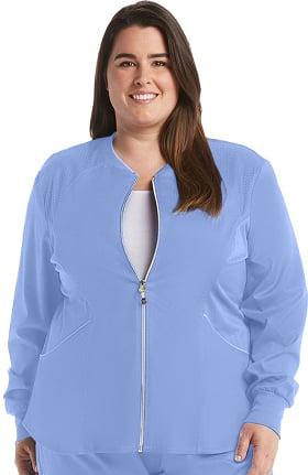 Luxe by Cherokee Women's Zip Front Warm-Up Solid Scrub Jacket