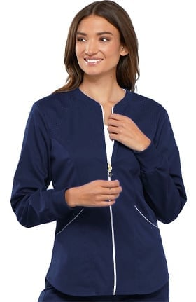 Luxe Sport by Cherokee Women's Zip Front Warm-Up Solid Scrub Jacket