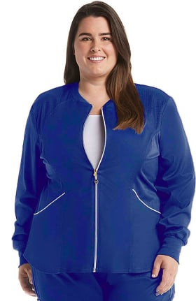 Clearance Luxe by Cherokee Women's Zip Front Warm-Up Solid Scrub Jacket