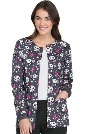 Fashion Prints by Cherokee Women's Snap Front Panda Print Warm-Up Scrub Jacket