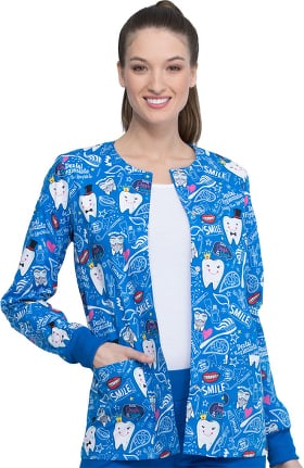 Fashion Prints by Cherokee Women's Bring The Sparkle Print Scrub Jacket