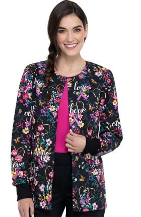 Clearance Fashion Prints by Cherokee Women's Bouquets Of Hope Print Scrub Jacket