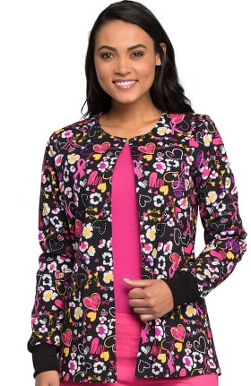 Fashion Prints by Cherokee Women's Snap Front Heart Print Scrub Jacket