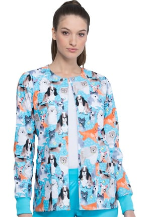Fashion Prints by Cherokee Women's Doggo Lingo Print Scrub Jacket
