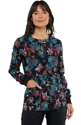 Fashion Prints by Cherokee Women's Snap Front Butterfly Print Scrub Jacket