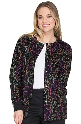 Fashion Prints by Cherokee Women's Snap Front Warm Up Floral Print Scrub Jacket