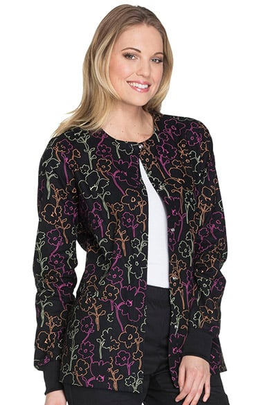 Cherokee Women's Snap Front Warm Up Floral Print Scrub ...