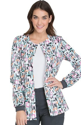 Clearance Cherokee Women's Snap Front Geometric Print Warm-Up Scrub Jacket