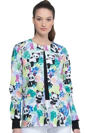 Clearance Fashion Prints by Cherokee Women's Garden Panda Monium Print Scrub Jacket