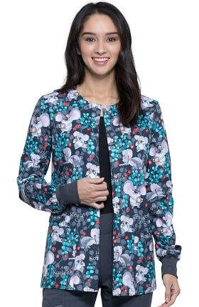 Fashion Prints by Cherokee Women's Highly Koalafied Print Scrub Jacket