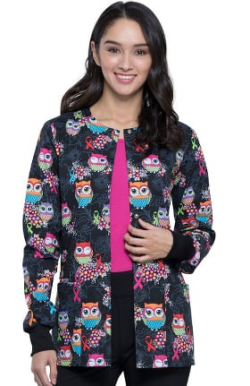 Fashion Prints by Cherokee Women's Lets Give A Hoot Print Scrub Jacket