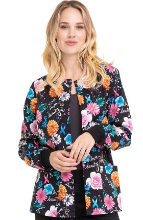 Fashion Prints by Cherokee Women's Love Is Beautiful Print Scrub Jacket
