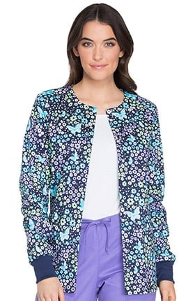 Fashion Prints by Cherokee Women's Snap Front Warm Up Floral Butterfly Print Scrub Jacket