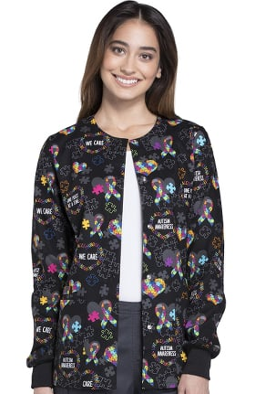 Fashion Prints by Cherokee Women's Snap Front Warm Up Autism Awareness Print Scrub Jacket