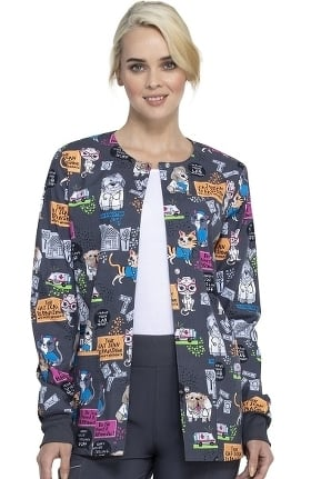 Fashion Prints by Cherokee Women's Purramedics Print Scrub Jacket