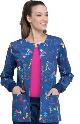 Clearance Fashion Prints by Cherokee Women's Piece Of My Heart Print Scrub Jacket