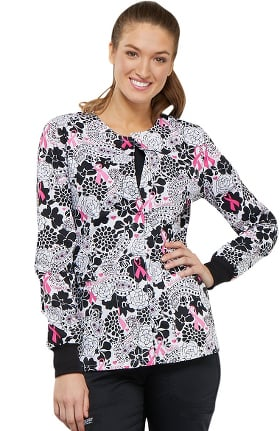 Fashion Prints by Cherokee Women's Snap Front Floral Print Scrub Jacket
