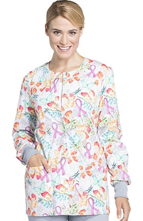 Breast Cancer Awareness by Cherokee Women's Snap Front Warm Up Floral Print Scrub Jacket