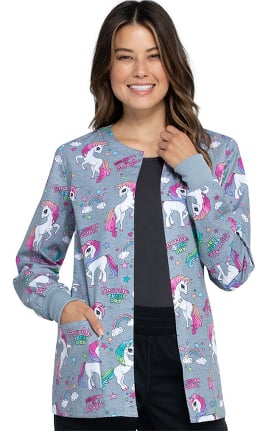 Fashion Prints by Cherokee Women's Sparkle Every Day Print Scrub Jacket