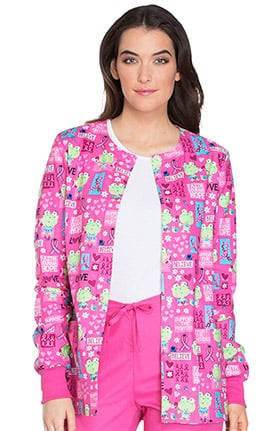 Breast Cancer Awareness by Cherokee Women's Snap Front Warm Up Frog Print Scrub Jacket