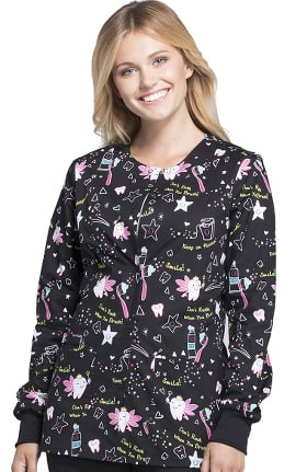 Fashion Prints by Cherokee Women's Snap Front Warm Up Dental Print Scrub Jacket