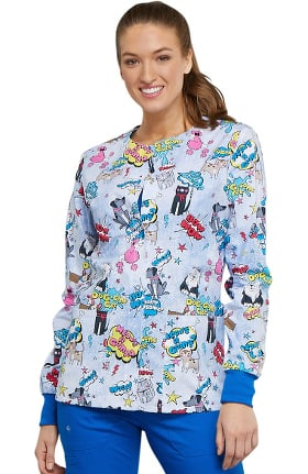 Fashion Prints by Cherokee Women's Snap Front Dog Print Scrub Jacket