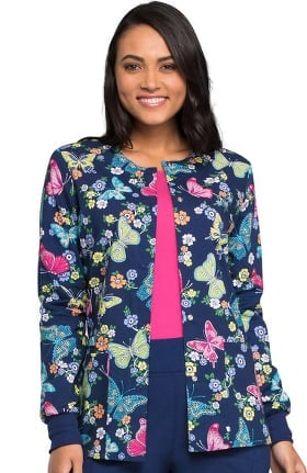 Clearance Fashion Prints by Cherokee Women's Snap Front Butterfly Print Scrub Jacket