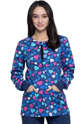 Clearance Fashion Prints by Cherokee Women's With All My Heart Print Scrub Jacket