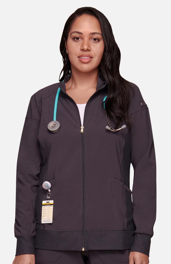daedd63682b iflex™ by Cherokee Women's Zip Front Warm-Up Solid Scrub Jacket ...