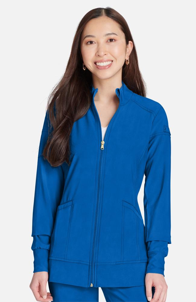 Iflex™ By Cherokee Womenu0027s Zip Front Warm Up Solid Scrub Jacket