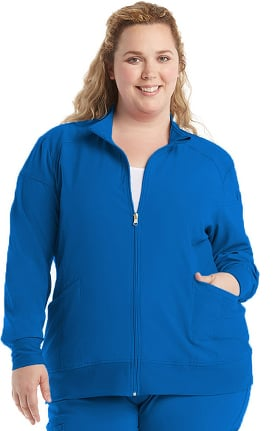 iflex by Cherokee Women's Zip Front Warm-Up Solid Scrub Jacket