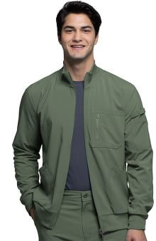 Infinity by Cherokee Men's Zip Front Warm-Up Solid Scrub Jacket