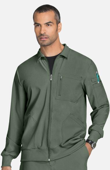 Infinity by Cherokee Men's Zip Front Warm-Up Solid Scrub Jacket